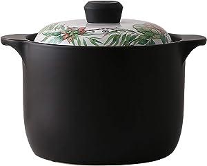 LDM Nordic Style Ceramic Saucepan, Non Stick Cookware Pot, Professional Clay Pot 3.17 Quart (3l) Electric Gas Cooker Stone Bowl