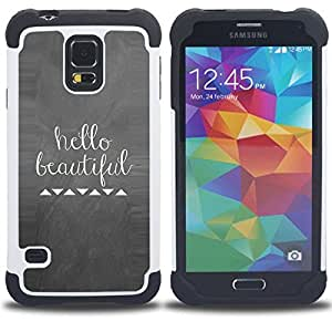 For Samsung Galaxy S5 I9600 G9009 G9008V - quote white love girlfriend Dual Layer caso de Shell HUELGA Impacto pata de cabra con im??genes gr??ficas Steam - Funny Shop -