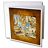 3dRose Vintage Travel Collage Greeting Cards, 6'' x 6'', Set of 6 (gc_99539_1)