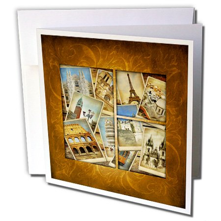 3dRose Vintage Travel Collage Greeting Cards, 6'' x 6'', Set of 6 (gc_99539_1) by 3dRose (Image #1)