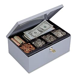 STEELMASTER Cash Box with Security Lock, Includes Keys, 11.25 x 4.38 x 7.5 Inches, Gray (221618201)