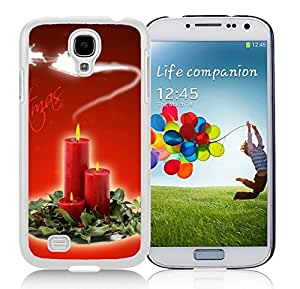 Galaxy S4 Case,Christmas Candles In Leaves Christmas Series-TPU White S4 Protective Case,Samsung S4 I9500 Case