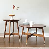 Mid-Century and Contemporary Style Coffee and End Table Round Top in Warm Walnut finish- 3209442. Tapered Legs Capped in Brass Finished Brackets Accent Table. Assembly Required