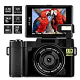 Digital Camera Vlogging Camera,24MP Ultra HD 2.7K WiFi YouTube Camera with 3.0 Inch Flip Screen and Retractable Flashlight (A-G03)