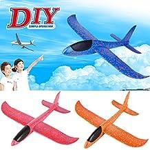 Vanvler Foam Throwing Glider Airplane Inertia Aircraft Toy Hand Launch Airplane Model (Orange)