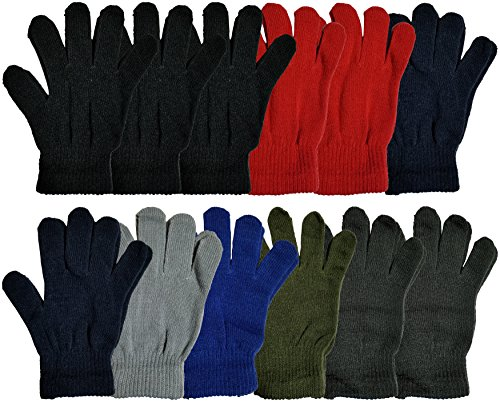 Winter Magic Gloves, 12 Pairs Unisex, Stretchy Warm Knit Bulk Pack One Size Mens Womens, Wholesale (12 Pairs Assorted Solids)