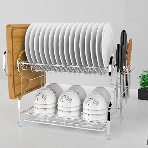 2 Tier Dish Drying Rack with Drain Board, Dish Drainer Dryin
