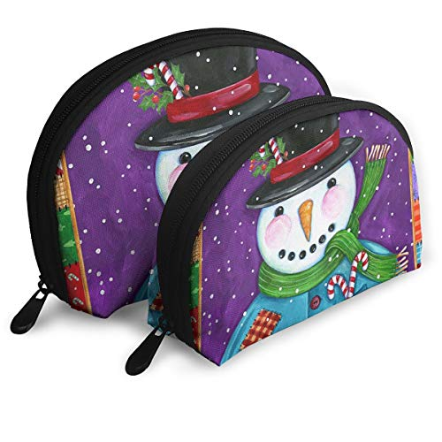 Jingclor Pack of 2 Womens Shell Cosmetic Bags - Patchwork Snowman Portable Travel Makeup Handbag Waterproof Toiletry Organizer Storage Bags