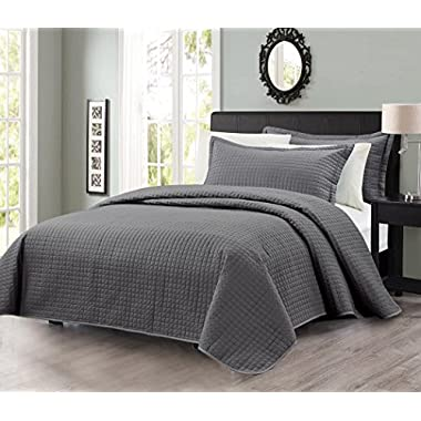 3pcs Solid Modern Quilted Coverlet Set (King, Charcoal)