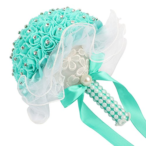 AerWo Bridal Bouquets - Mint Green Wedding Flower Bouquet Handmade Rose Rhinestone Pearl Bridal Bouquet Artificial Silk Flower with Lace - Being the Most Beautiful Bride