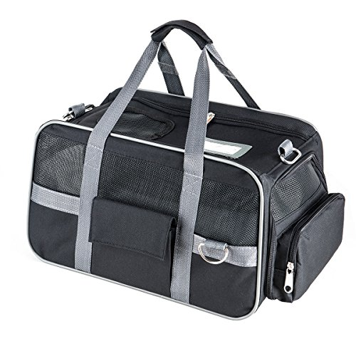 Fypo Pet Cat Puppy Expandable Carrier Crate , Soft Sided Tote Travel Kennel With Removable Fleece Portable Handbag Shoulder Bag Spacious Folding Zipper Lock Case for Airline Cabin 15.7