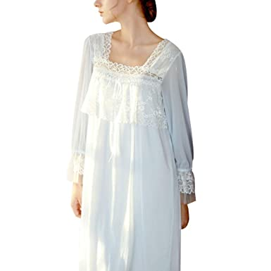 19bd4a3341 Women s Victorian Ruffle Front Nightgown Vintage Floral Lace Night Sleep  Dress Sexy Chic Long Sleeve Sheer