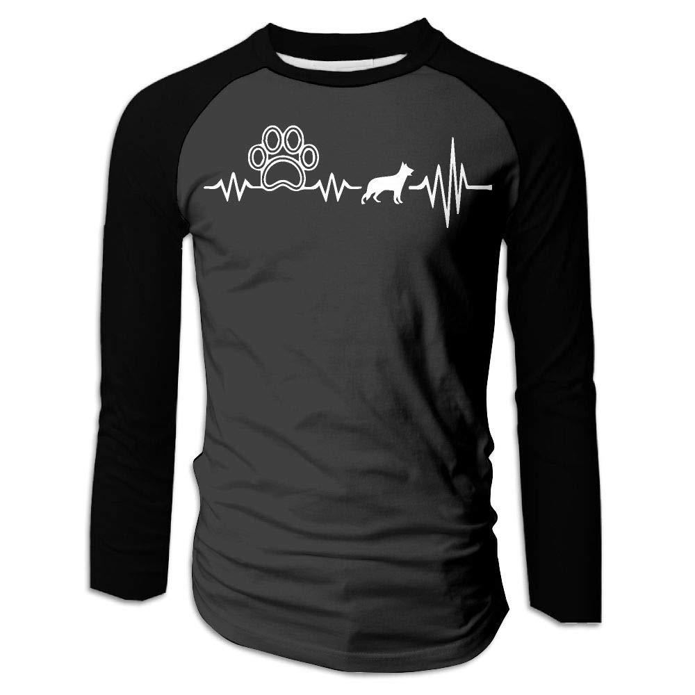 German Shepherd Heartbeat with Paw1 Mens Stylish Crew Neck Long Sleeve Raglan Baseball Shirt Casual Tees