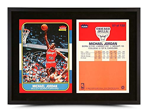 - Michael Jordan Autographed 12X27 Framed 1986-87 Fleer RC Rookie Card Bulls UDA