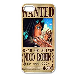 Custom one piece wanted dead or alive iPhone 5,5S Hard Plastic Shell Case Cover White&Black(HD image)