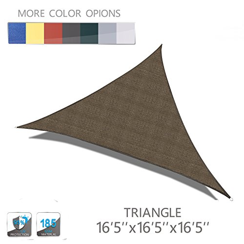 Love Story 16'5'' x 16'5'' x 16'5'' Triangle Brown UV Block Sun Shade Sail Perfect for Outdoor Patio Garden by Love Story
