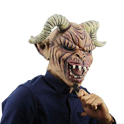 Fancy Dress, Costume Wrinkled Devil Mask with Long Horns