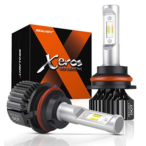 SEALIGHT 9007 LED Headlight Bulbs HB5 Hi/Lo Beam Bulbs Fanless Super Bright 6500LM 6000K Cool White All-in-One Conversion Kit Upgraded 12x CSP Chips ()