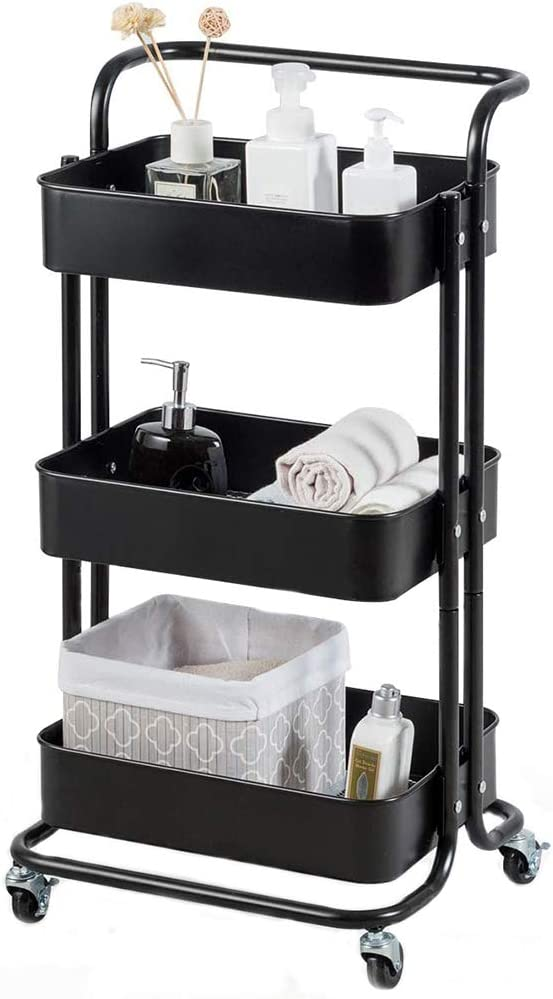 JAKAGO 3-Tier Rolling Cart Metal Utility Cart Kitchen Trolley Serving Cart with Top Handle, Lockable Casters and 3 Mesh Storage Baskets, Mobile Organizer Cart for Home and Office (Black)