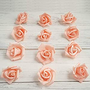 "Tableclothsfactory 12 pcs 2"" Peach Real Touch 3D Artificial DIY Foam Rose Flower Head for Walls Backdrops Centerpieces Decoration 98"