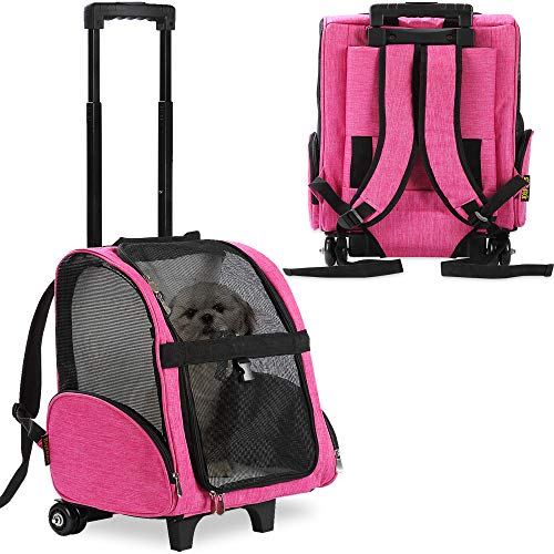 KOPEKS Deluxe Backpack Pet Travel Carrier with Double Wheels – Pink – Large