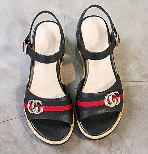 Frau Sommer Sandalen dicke Kruste Hang mit offenen Sandalen weiblichen Fischkopf Wortwölbung weiblicher Sandalen Frauen Sandalen Freizeitschuhe Black