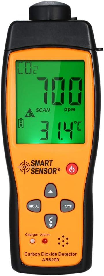 Baugger D/étecteur de dioxyde de carbone SMART SENSOR Testeur de gaz de compteur de CO2 portable
