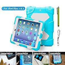 Ipad Case, Ipad Mini Case, Aceguarder® Best New [Shockproof] [DropProof] Soft Silicone Portable Handle Case [Ultra Slim] [Light Weight] Protective Case Cover for iPad mini 3/2/1 (Light blue-white)