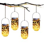 Mason Jar Solar Lanterns Lights,4 Pack 30 Led Lights Starry Star Fairy Firefly Jar Lights,for Outdoor Patio Garden Yard Mason Jar Wedding Table Decor Solar Lantern Lights(Mason Jars/Hangers Included)