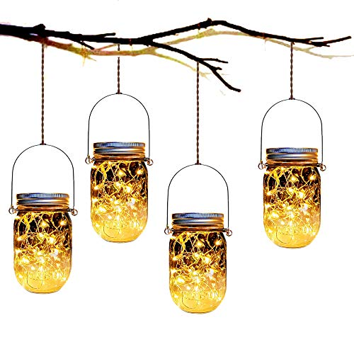 Mason Jar Solar Lanterns Lights,4 Pack 30 Led