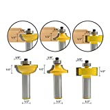 FORTOMORROW 3pcs/lot 1/2'' Shank Router Bit Round Over Bead Glass Door Router Bits Set For Woodworking Cutter Tool