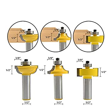 """3× Glass Door Router Bits Set Round Over Bead 1//2/"""" Shank Woodworking Cutter Tool"""