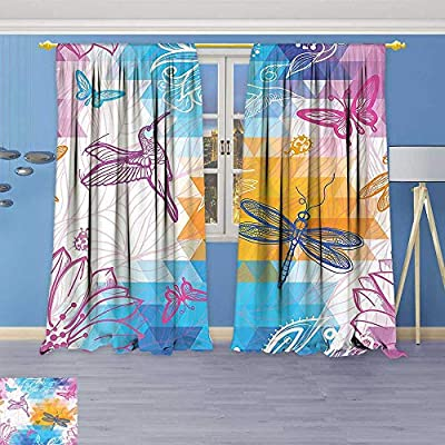 Philiphome Blackout Curtains Thickening Polyester,Beetle Dragonfly and Bird Shapes Over Geometrical Angled Bound Triangle Forms Graphic Work Thermal Insulated Grommet for Living Room
