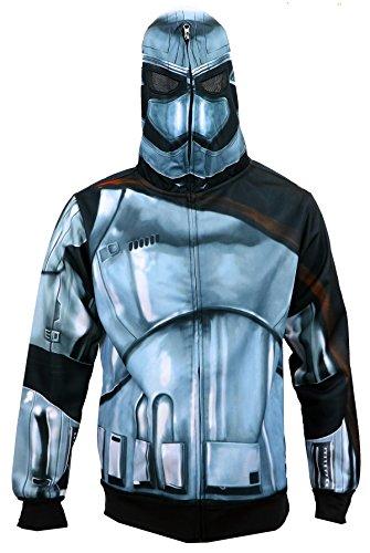 [Star Wars The Force Awakens Men's Phasma Costume Zip-Up Hoodie M] (Star Wars Mens Zip Up Costume Hoodie)