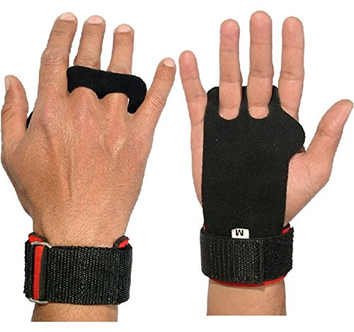 Wear Hand Wraps - Pull-up Hand Grips with Wrist Wrap Protection for Cross-Training, Gymnastics, Fitness, Exercise, Skills and Drills, WODs, 100% (Red, Large)