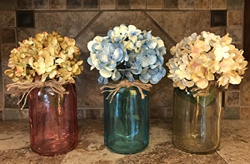 Canning Quart JAR ONLY ~ Clear Colored Glass with twine bow ~ Design a Centerpiece for Kitchen Table Decor ~ Flower is optional ~Add your own flowers to Jars! Amber Yellow, Ruby Red, Sapphire (Pewter English Lighting)