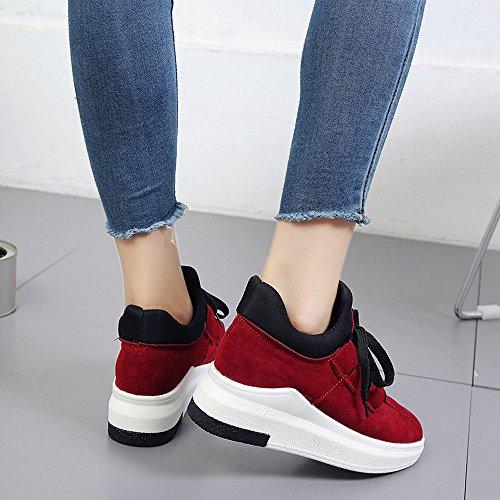 Red By Casual Suela Zapatillas Mujeres Aire Transpirables Las Libre Mujer Plataforma Bazhahei Deportivos Para Ocasionales De Zapatos Encaje 2 Al Altas Gruesa Planos xwECRw1qA