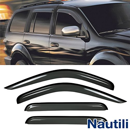 VioletLisa New 4pcs For 98-03 Durango 00-04 Dakota Crew/Quad Cab Dark Smoke Out-Channel/Outside Mount Style Wind Sun Rain Guard Vent Shade Deflector Window Visors ()