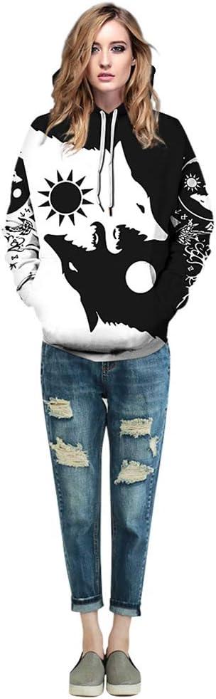 Felpa con Cappuccio Unisex con Stampa 3D Tatuaggio Vichingo con Cappuccio Stampato su Tutta la Superficie Mitologia norrena Runa Vestiti Fantastici,Wolf,S Felpa Cappuccio Donna per Uomo