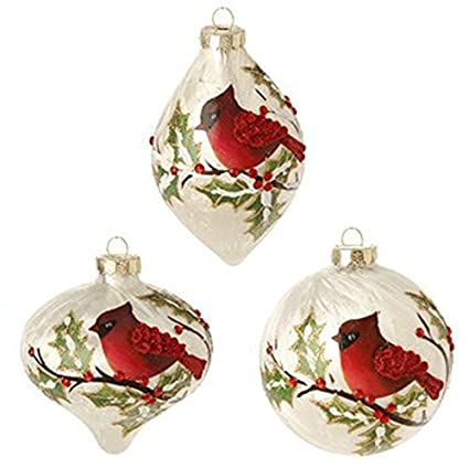 raz imports 4 inch cardinal and holly christmas tree ornaments 1 ball 1 - Amazon Christmas Ornaments