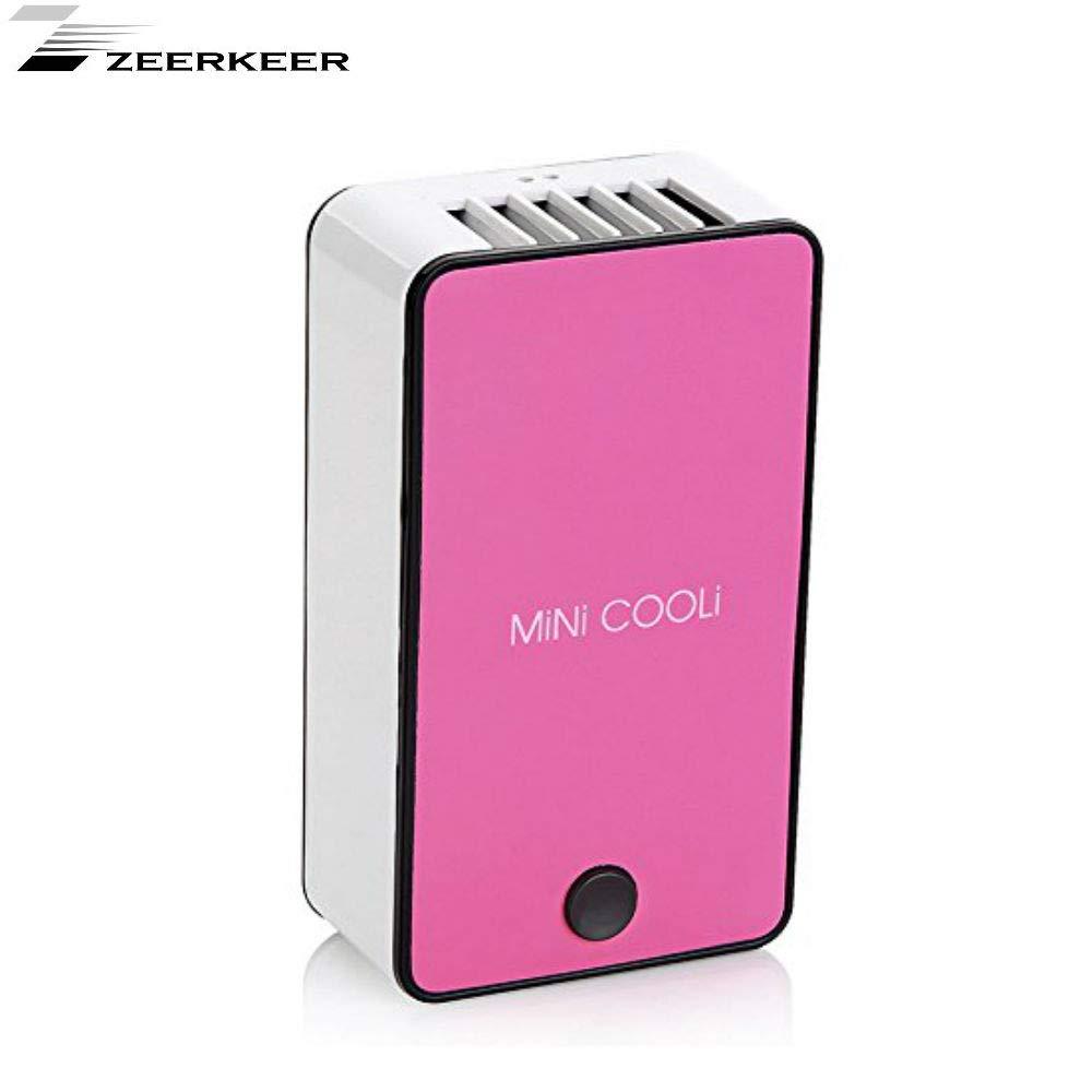 Mini aire enfriador mobile Aire Acondicionado Ventilador Enfriador de aire Air Cooler, USB recargables humidificador y purificador de aire portá til ventilador de mesa para Hotel, Oficina, Garaje y Casa 05010 Zeerkeer