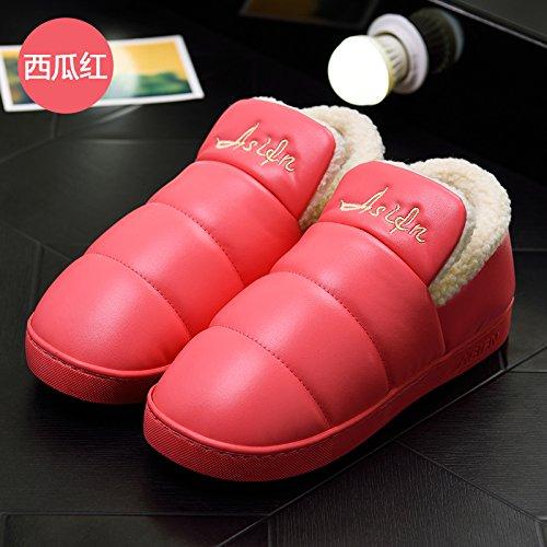 LaxBa Femmes Hommes chauds d'hiver Chaussons peluche antiglisse intérieur Cotton-Padded Chaussures Slipper rouge pastèque38-39 inscrit 37-38