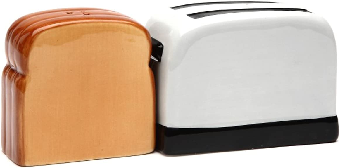Toaster and ToastMagnetic Ceremic Salt and Pepper Shakers