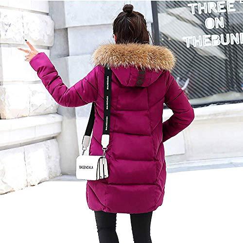 Manteau Col Pour Long Fourrure Hiver De Pink Hot Coton Capuche Épais Parka Trench Dames À Veste Chaud Matelassée Enceintes v0qnSg