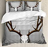 Antler Decor King Size Duvet Cover Set by Ambesonne, Realistic Deer Skull with Large Horns Elk Skeleton on Abstract Backdrop, Decorative 3 Piece Bedding Set with 2 Pillow Shams, Brown White Grey