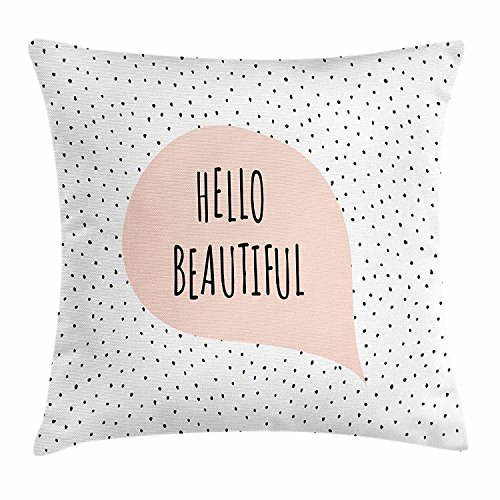 best bags Hello Throw Pillow Cushion Cover, Romantic Motivational Message in a Pastel Colored Speech Balloon Hand Drawn Dots, Decorative Square Accent Pillow Case, 18 X 18 Inches, Blush Black