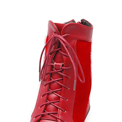 Toe Red Solid Kitten AgooLar Materials Blend Women's Boots Heels Pointed Closed Zipper pzw7OqwxS
