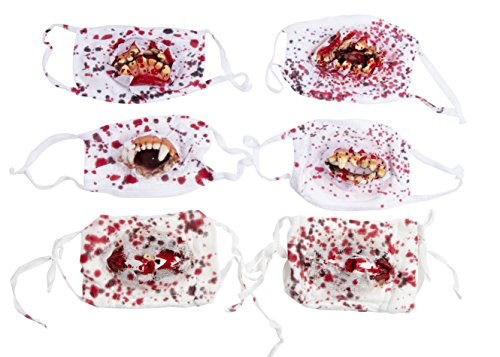 Bloody Mouth Masks and Bandage Props - 6-Pack