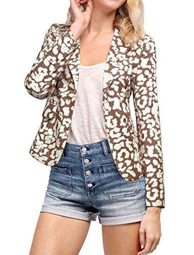 Allegra K Women's Peaked Lapel One Button Closed Leopard Prints Blazer M Brown (Peaked Lapel Jacket)