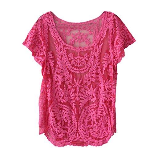 Amonfineshop Blumen Semi Sheer Hemd-T-Shirt Spitze-Häkelarbeit-Spitzenbluse (hot pink)